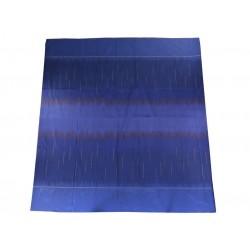 NAPPE HERMES EN SOIE BLEU BRODE RECTANGULAIRE 184 X 327 CM BLUE SILK TABLECLOTH