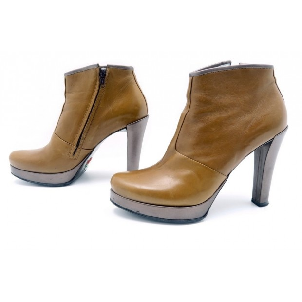 CHAUSSURES FREE LANCE BOTTINES A TALONS 38.5 EN CUIR MARRON LOW BOOTS 525€
