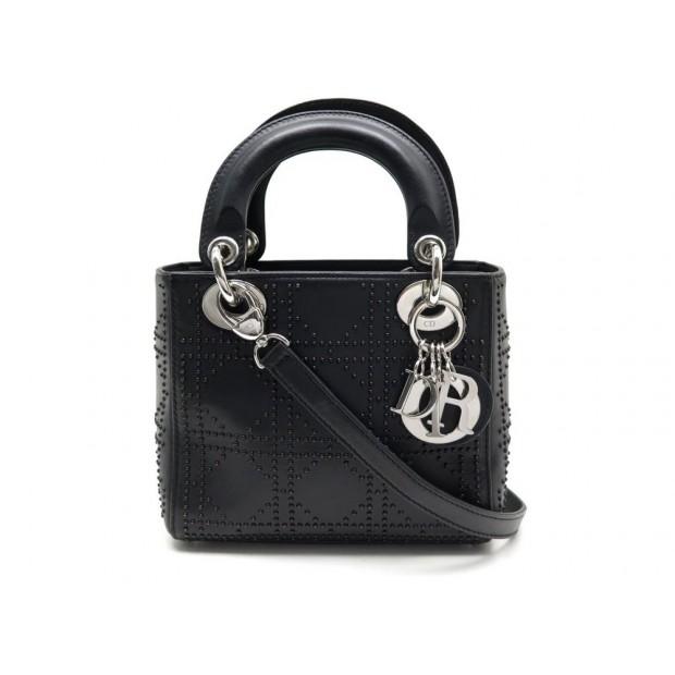 7c5bd42a52 sac a main christian dior lady mini cuir noir cloute