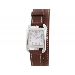 MONTRE HERMES CAP CODE PM CC1.250 23 MM QUARTZ ARGENT & CUIR MARRON WATCH 2350€