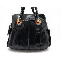 SAC A MAIN CHLOE BESACE EN CUIR NOIR 40 CM BLACK LEATHER HAND BAG PURSE 1000€