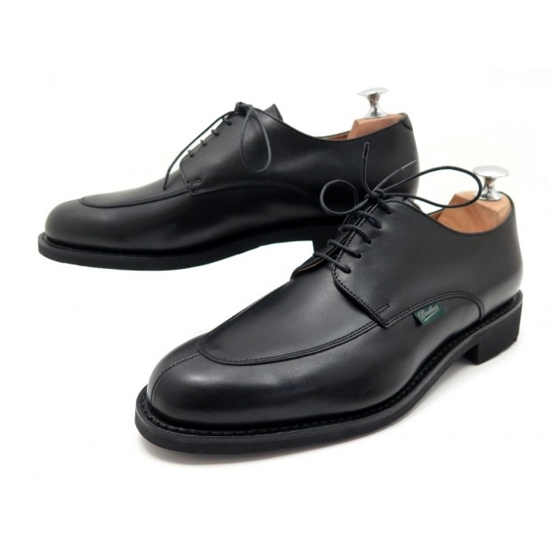 NEUF CHAUSSURES PARABOOT VELEY DERBY 6.5 40.5 EN CUIR NOIR LEATHER SHOES 350€