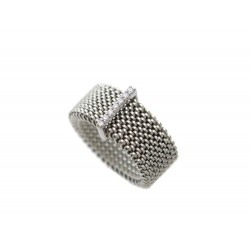 BAGUE MAUBOUSSIN MOI NON PLUS T 56 MAILLE EN ACIER OR BLANC & DIAMANTS RING 695€