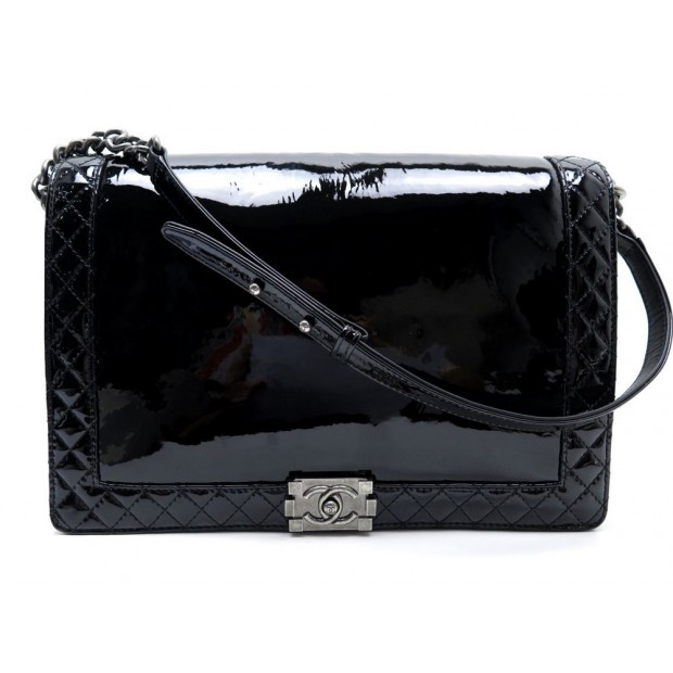 SAC A MAIN CHANEL BOY MAXI JUMBO CUIR VERNI NOIR RUTHENIUM BLACK HAND BAG 5800€