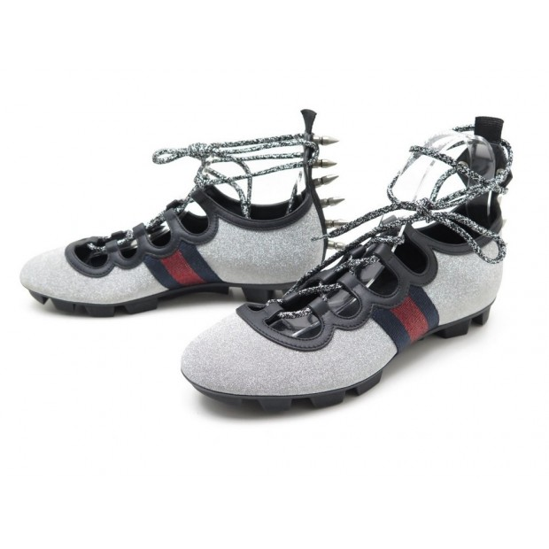 9b78a6ea5a9 NEUF CHAUSSURES GUCCI TITAN GLITTER LACE UP SPIKE SNEAKERS BALLERINES SHOES  950€