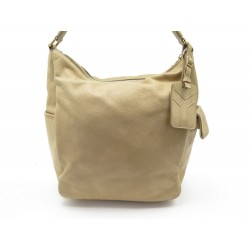 SAC A MAIN YVES SAINT LAURENT HOBO 252592 CUIR GRAINE BEIGE LEATHER PURSE 1600€