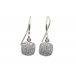 NEUF BOUCLES D'OREILLES INDYGO OR BLANC & DIAMANTS 0.27CT + BOITE EARRINGS 695€