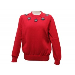 PULL GIVENCHY EN COTON ROUGE PATCHS ETOILES AU COL GRISES RED SWEAT STARS 590€