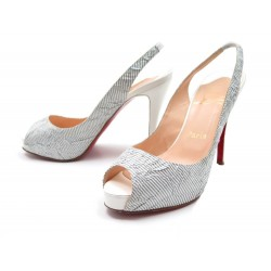 CHAUSSURES CHRISTIAN LOUBOUTIN ESCARPINS 38.5 TOILE RAYEE BLANC GRIS SHOES 550€