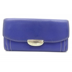 PORTEFEUILLE LANCEL ADJANI PORTE MONNAIE CUIR GRAINE VIOLET LEATHER WALLET 295€