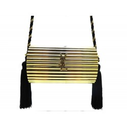 SAC A MAIN YVES SAINT LAURENT OPIUM MINAUDIERE DOREE BANDOULIERE CLUTCH 1390€