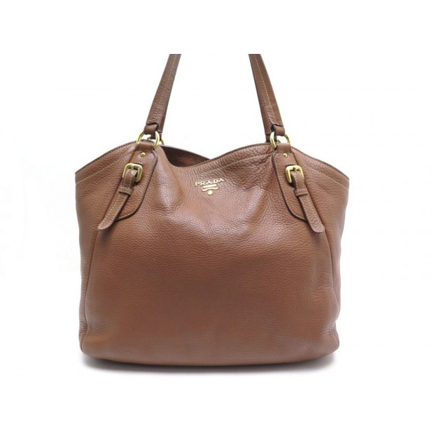 Sac A Main Prada En Cuir Graine Marron Brown Leather