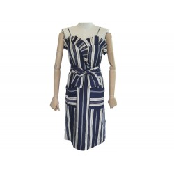 ROBE CHLOE SOIE RAYEES BLEU ET BLANC T 36 S BLUE AND WHITE STRIPED DRESS 1890€