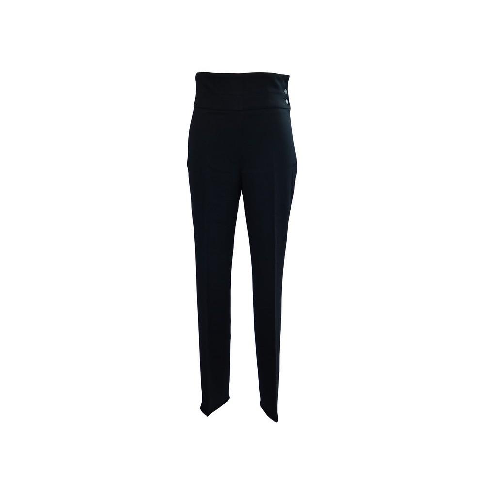 Pantalon Chanel P38740 T 38 M En Laine Noir Femme