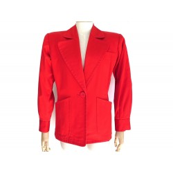 VESTE SAINT LAURENT 1 BOUTON TAILLE 36 S EN COTON ROUGE RED COTTON JACKET 1890€