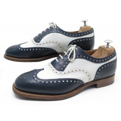 CHAUSSURES CHURCH'S BURWOOD RICHELIEU CUIR BICOLORE BLEU BLANC 8G 42 SHOES 620€