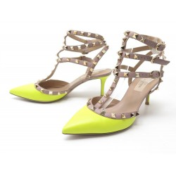NEUF CHAUSSURES VALENTINO ROCKSTUD ESCARPINS 38 IT 39 CUIR JAUNE FLUO SHOES 770€