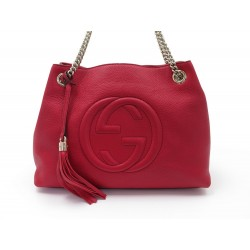 SAC A MAIN GUCCI SOHO 308982 LOGO GG CUIR GRAINE ROUGE PURSE RED LEATHER 1590€