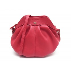NEUF SAC A MAIN LANCEL GOUSSET EN CUIR ROUGE BANDOULIERE RED LEATHER PURSE 395€