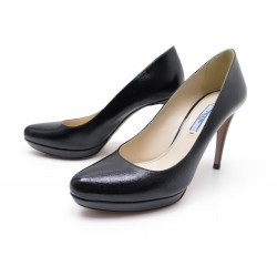 CHAUSSURES PRADA ESCARPINS EN CUIR SAFFIANO NOIR T38 IT 39 FR COURT SHOES 530€