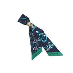 NEUF BRACELET BULGARI SHELLEYS 243010 SOIE BLEUE ET VERTE & SERPENTI SCARF 380€