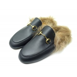 NEUF CHAUSSURES GUCCI MULES PRINCETOWN 40 I41 FIN MOCASSINS FOURRES EN CUIR 795€