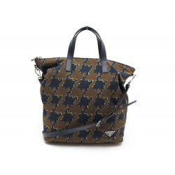 SAC A MAIN PRADA CABAS 33 CM NYLON IMPRIME MARRON & BLEU CANVAS HAND BAG 1200€