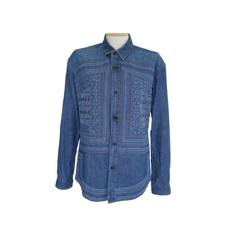 chemise mosaique denim brodee saint laurent xs 34 WrBdCxQeEo