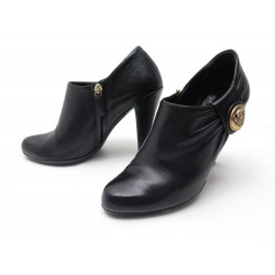 CHAUSSURES GUCCI HYSTERIA 202939 LOW BOOTS A TALONS T 36 C CUIR NOIR SHOES 790€