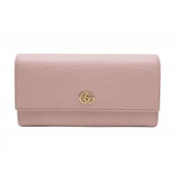NEUF PORTEFEUILLE GUCCI MARMONT EN CUIR GRAINE ROSE PINK LEATHER WALLET 450€