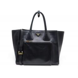 SAC A MAIN PRADA 2 WAY SHOPPING BAG CUIR NOIR BANDOULIERE BLACK HAND BAG 1850€