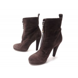 CHAUSSURES GUCCI 203013 BOOTS FOURREES A TALONS 38.5C 39 FR BOTTINES DAIM 850€