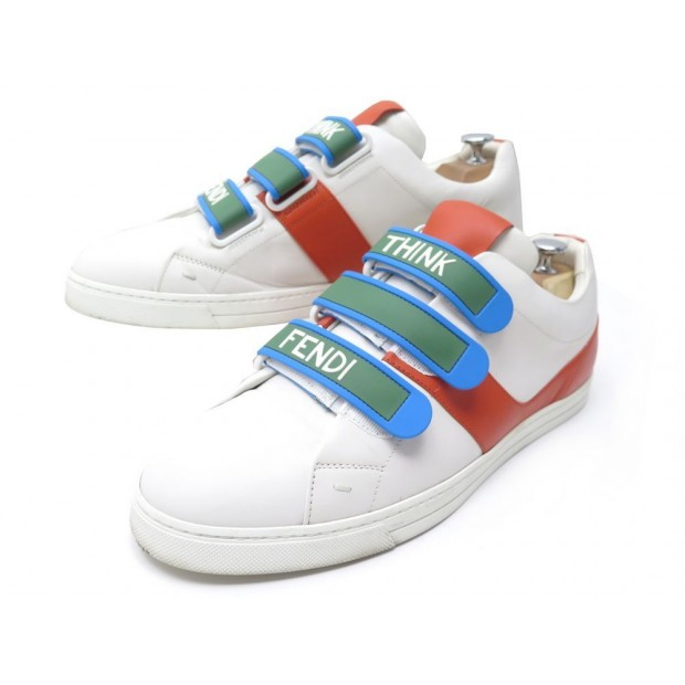 CHAUSSURES FENDI THINK 7E1098 BASKETS 10 44 EN CUIR BLANC LEATHER SNEAKERS 620€