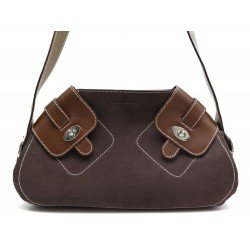 NEUF SAC A MAIN LANCEL EN DAIM ET CUIR MARRON BROWN SUEDE AND LEATHER HANDBAG