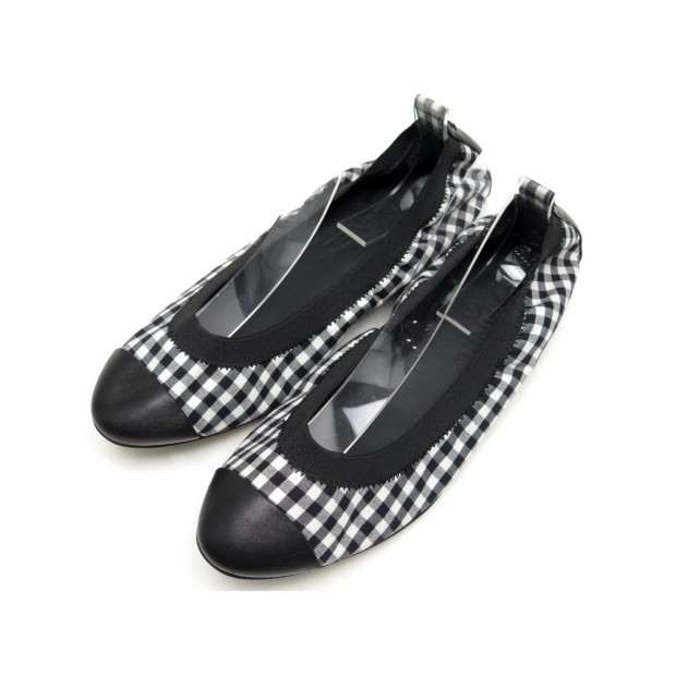 NEUF CHAUSSURES CHANEL G26642 BALLERINES 39.5 TOILE VICHY & CUIR NOIR SHOES 540€