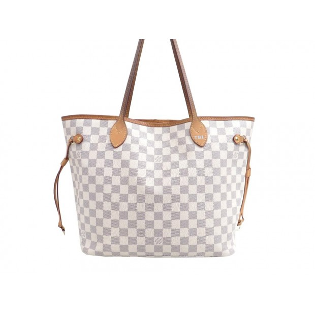 SAC A MAIN LOUIS VUITTON NEVERFULL MM CABAS TOILE DAMIER AZUR BLANC HANDBAG 945€