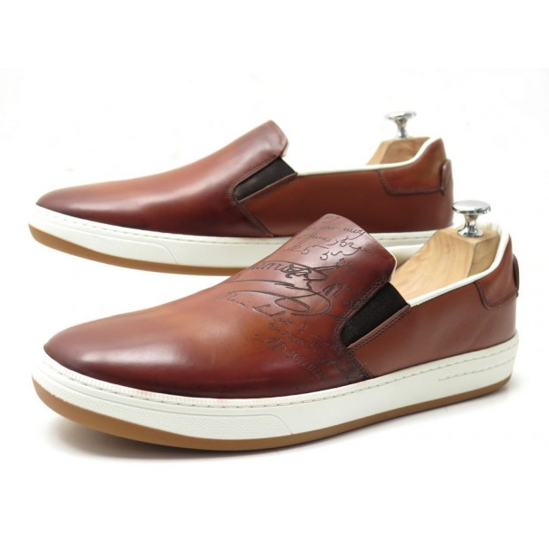 NEUF CHAUSSURES BERLUTI BASKETS OUTLINE BURANO SCRITTO COGNAC 43 SNEAKERS 1180€