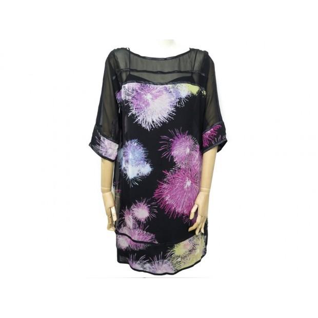 NEUF ROBE DIANE VON FURSTENBERG T 6 M 38 EN SOIE NOIR & ROSE NEW SILK DRESS 330€