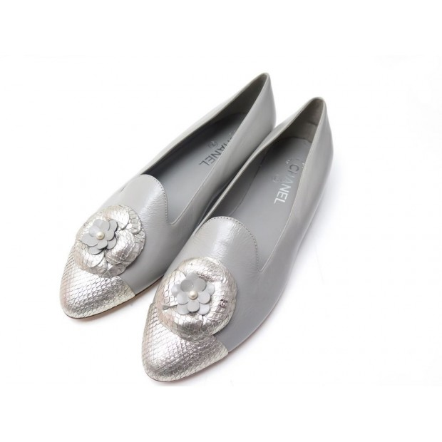 NEUF CHAUSSURES CHANEL BALLERINES G32482 41.5 CAMELIA CUIR VERNI FLAT SHOES 750€