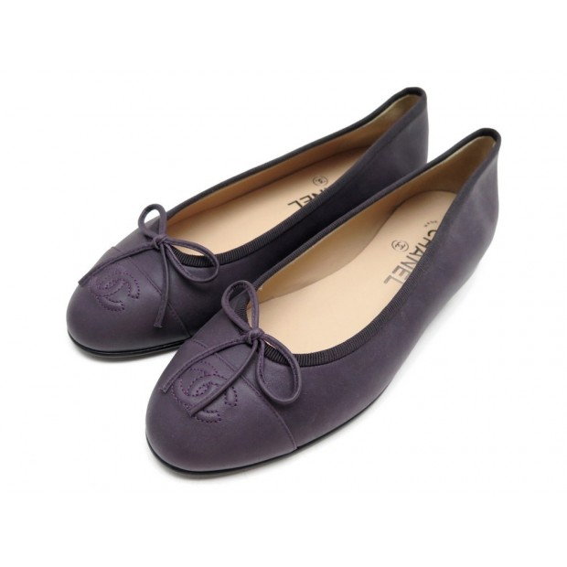 NEUF CHAUSSURES CHANEL G02819 BALLERINES 37 CUIR VIOLET LOGO CC BOITE SHOES 590€