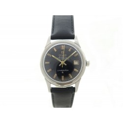 VINTAGE MONTRE OMEGA CONSTELLATION DATE 34 MM AUTOMATIQUE EN ACIER ET CUIR WATCH