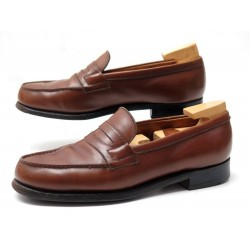 CHAUSSURES JM WESTON MOCASSINS 180 3B 36.5 CUIR MARRON EMBAUCHOIRS LOAFERS 695€