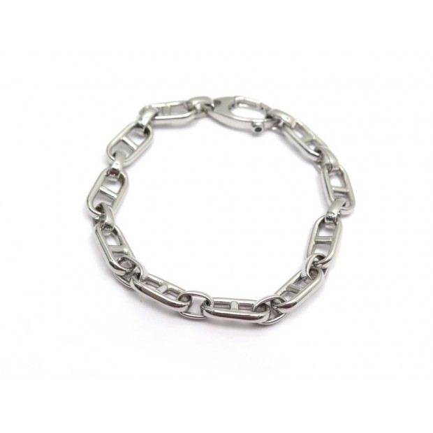NEUF BRACELET MAILLE CHAINE D'ANCRE T 19 EN OR BLANC 18K 13.8 GR NEW WHITE GOLD