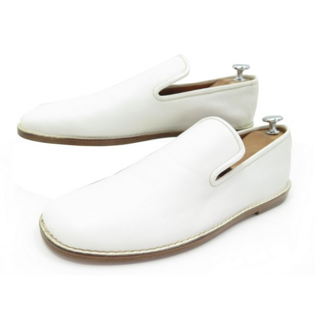 NEUF CHAUSSURES CELINE 41 MOCASSINS EN CUIR BLANC LEATHER LOAFERS SHOES 590€