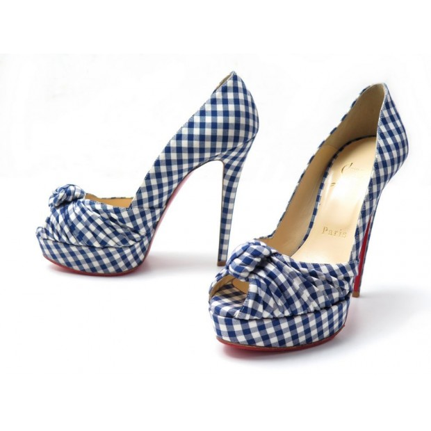 NEUF CHAUSSURES LOUBOUTIN GREISSIMO GINGHAM 130 SANDALES TALONS 36.5 VICHY 780€