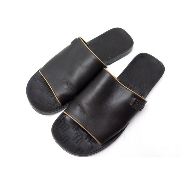 CHAUSSURES LOUIS VUITTON SANDALES DAMIER 7 41 HOMME CUIR SLIPPERS SHOES LV 450€