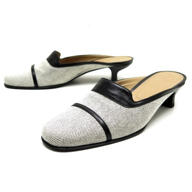 CHAUSSURES HERMES MULES A TALONS 37 CUIR & TOILE NOIR BLANC SLIPPERS SHOES 580€