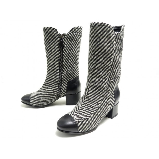 NEUF CHAUSSURES CHANEL BOTTES G31207 36.5 TWEED CUIR NOIR LOGO HIGH BOOTS 1300€