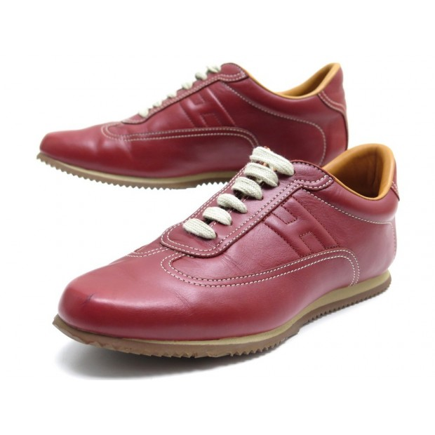 CHAUSSURES HERMES BASKETS QUICK H 37.5 EN CUIR ROUGE SNEAKERS LEATHER SHOES 630€