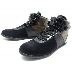 NEUF CHAUSSURES LOUIS VUITTON MOVE UP 39.5 EN CUIR & TOILE MONOGRAM BASKETS 630€